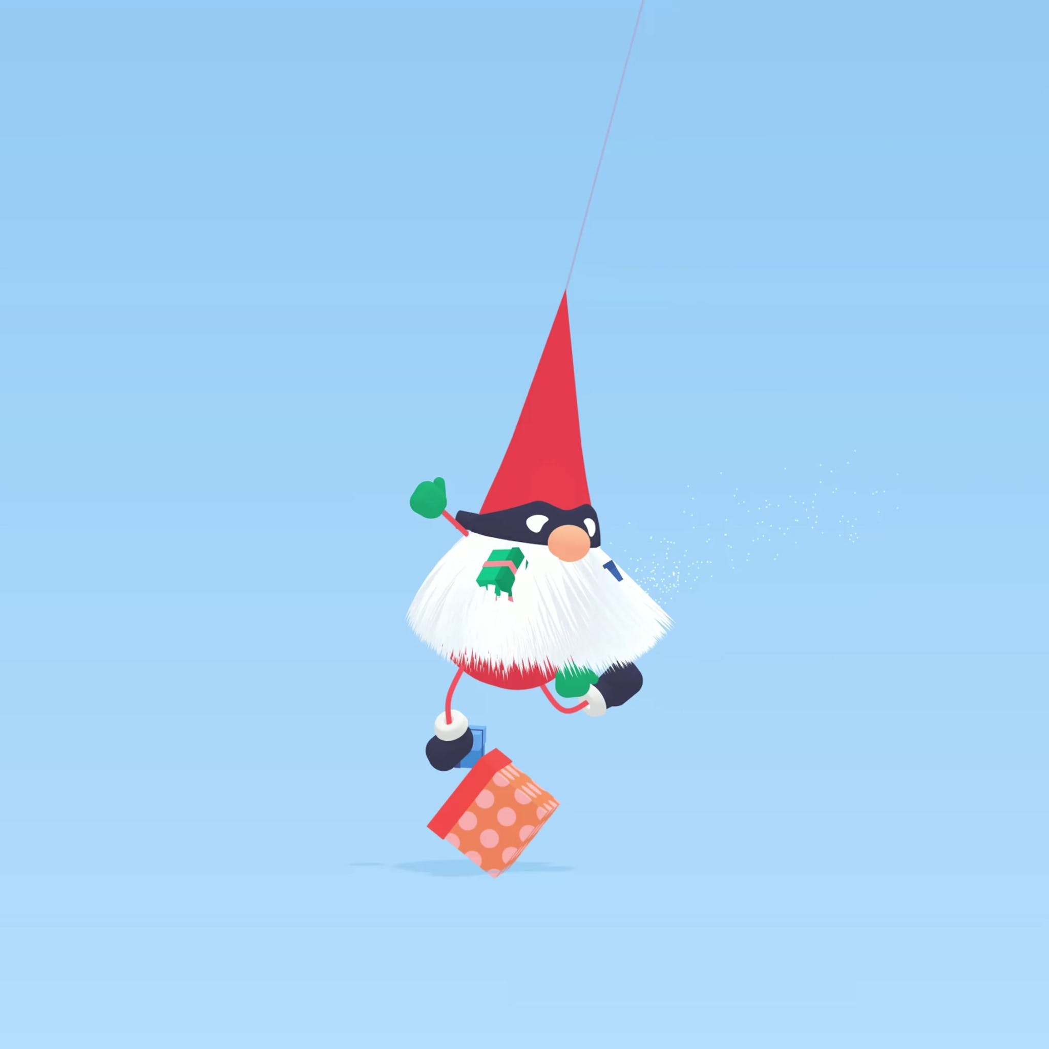 Sneaky Santa game, swinging him makes him drop presents that he stole