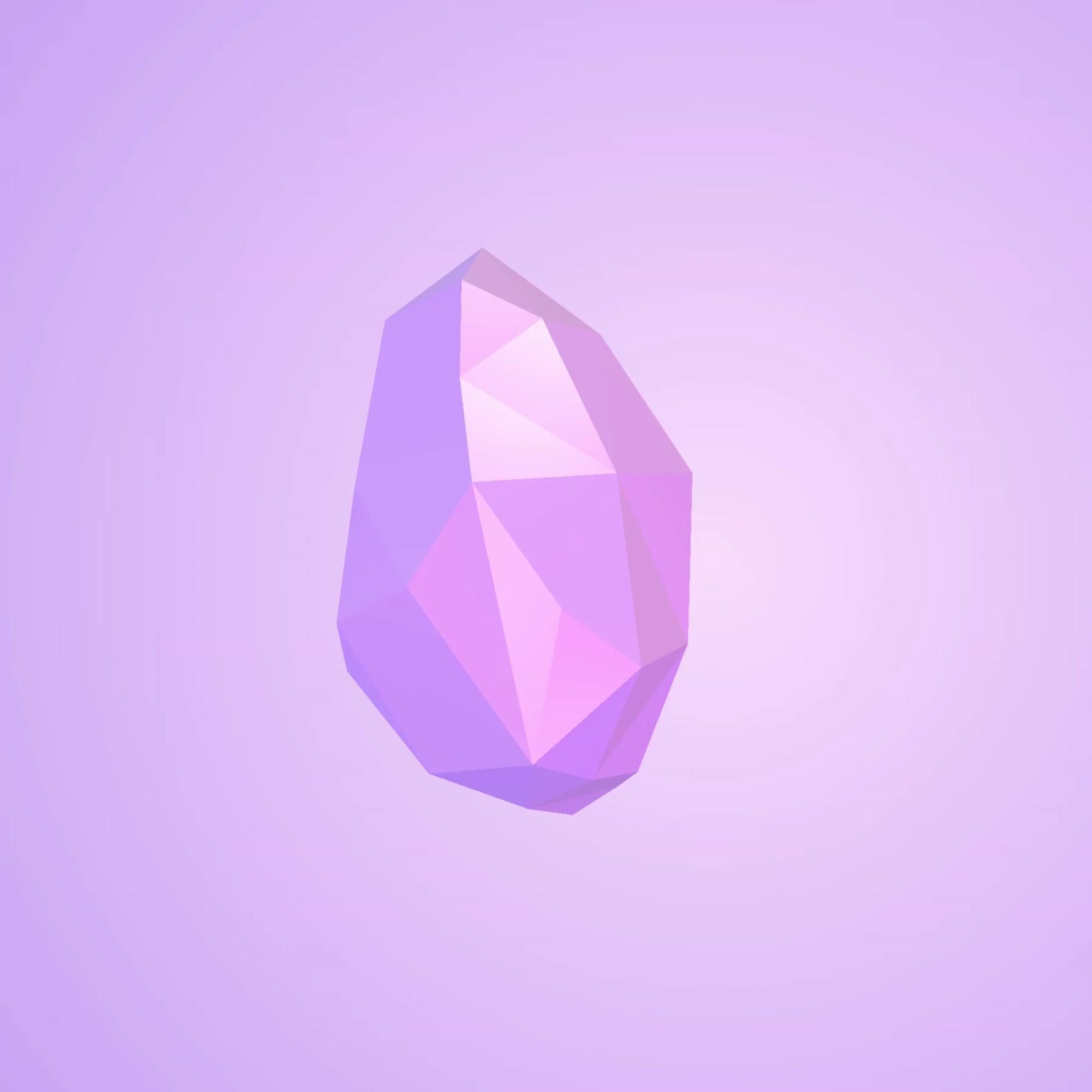Pink 3d gemstone floating and rotating