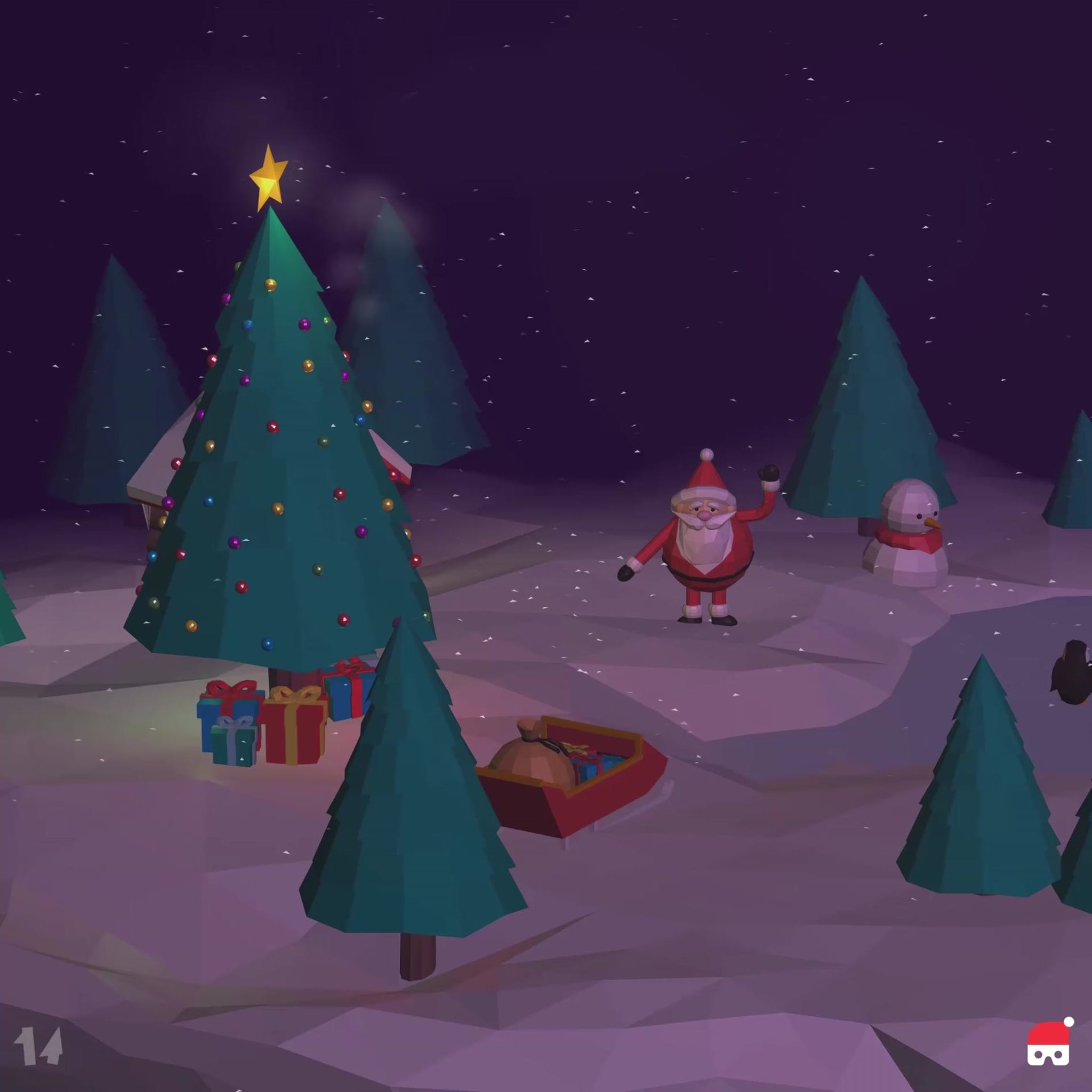 VR experience of Santa Claus inside a snow globe