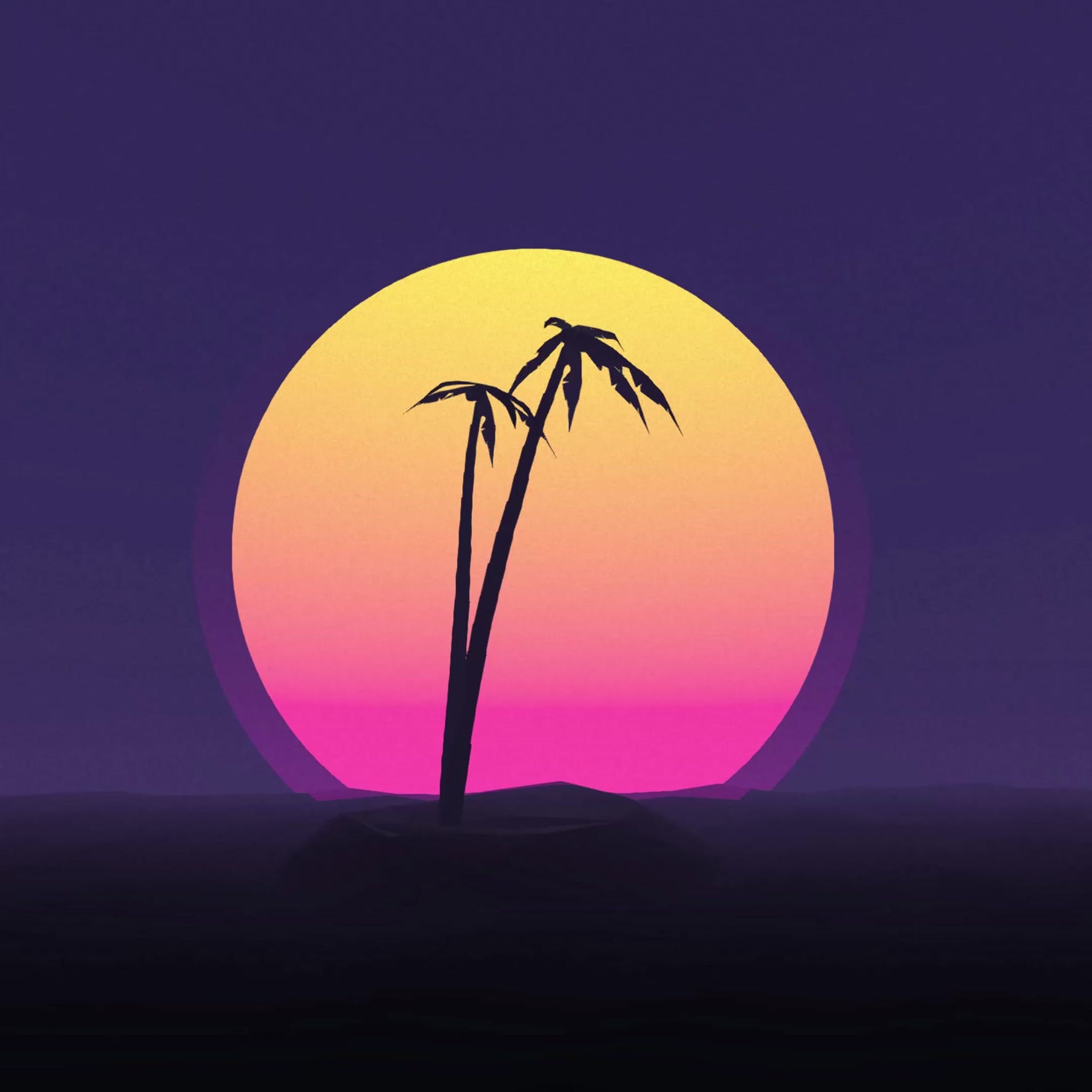 Silhouette of 2 palm trees with a big orange sun on the background