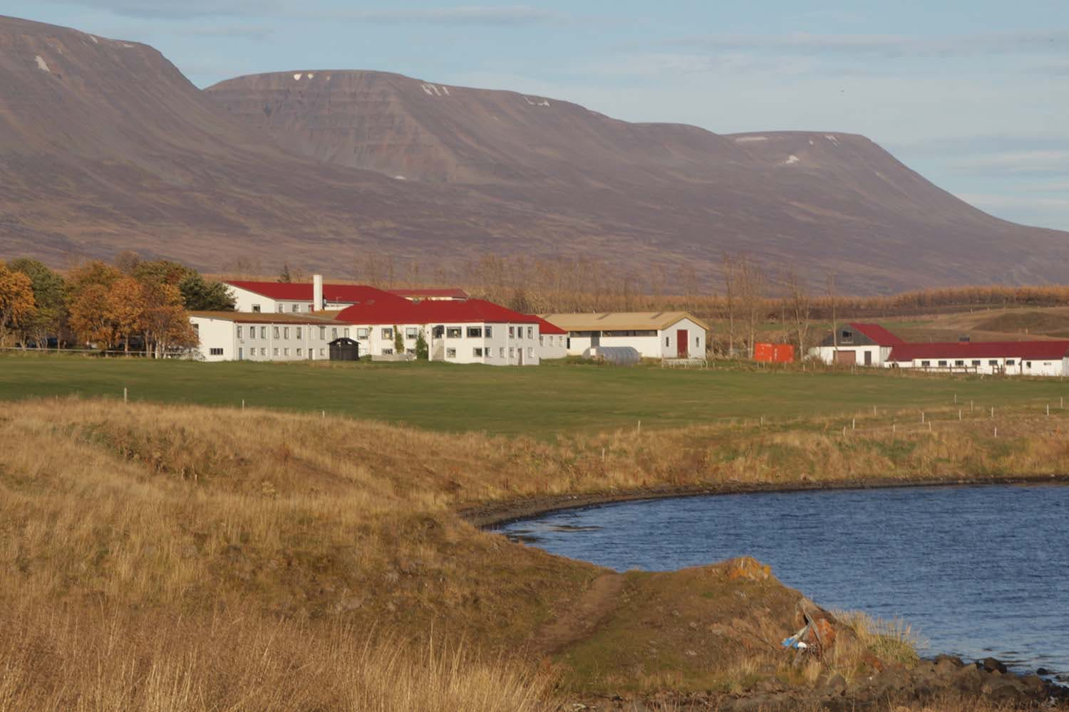 The Skjaldarvík guesthouse, our home for 6 months. In the middle, there is a black hut — right next to it you can find the hot tub.