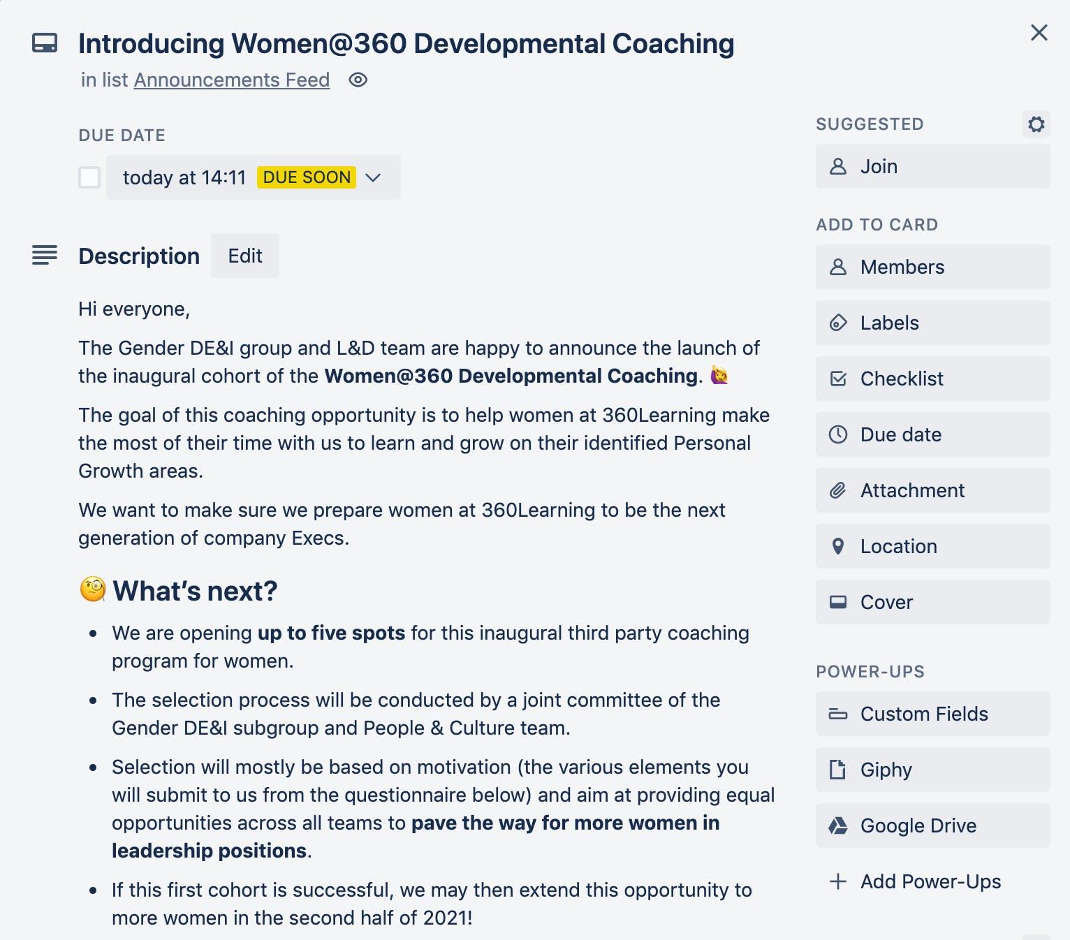 Women at 360 Coaching on Trello