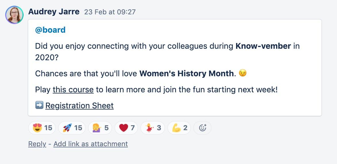 Women's History Month Trello announcement