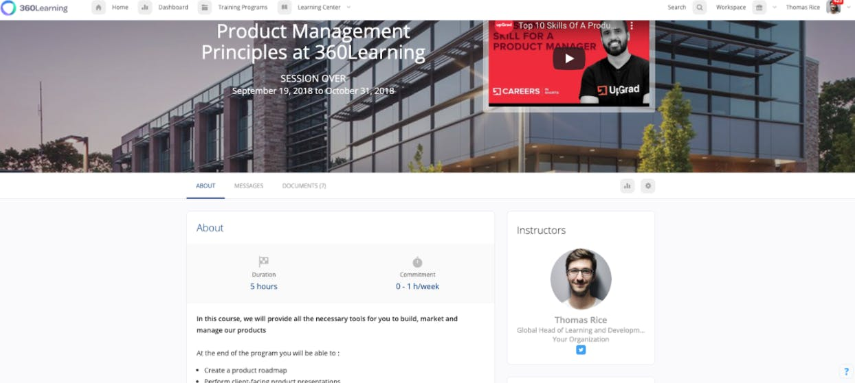 An example of a role-based course for product managers on the 360Learning platform