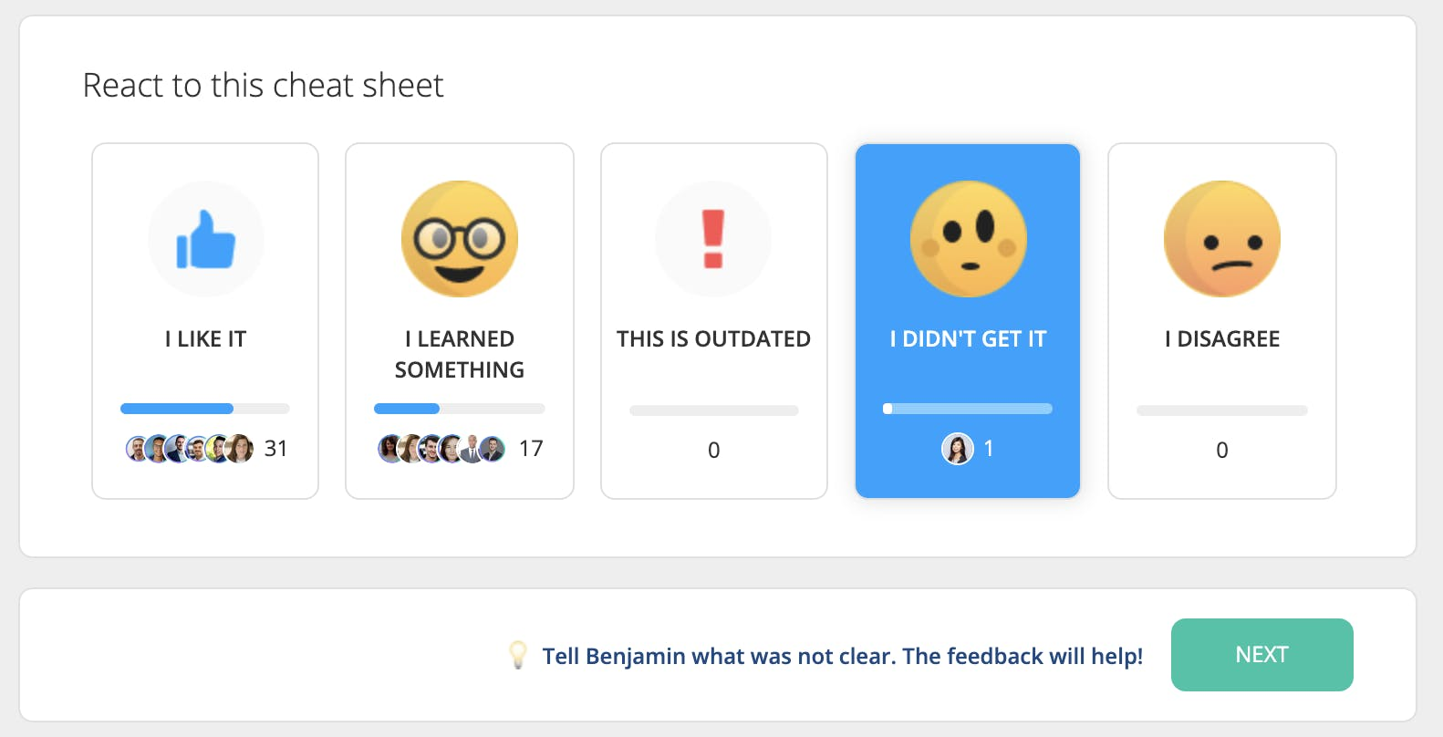 instant feedback buttons on 360Learning platform