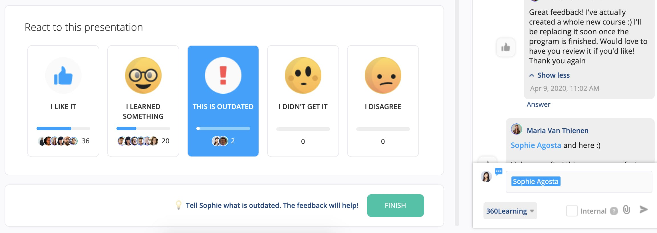 Instant reactions and feedback on one of the courses hosted on our 360Learning platform