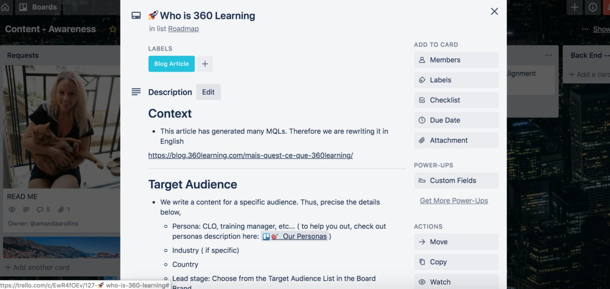 Who is 360Learning Trello card