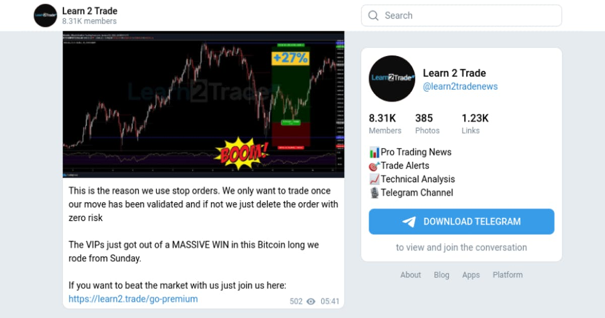 Learn 2 Trade interface