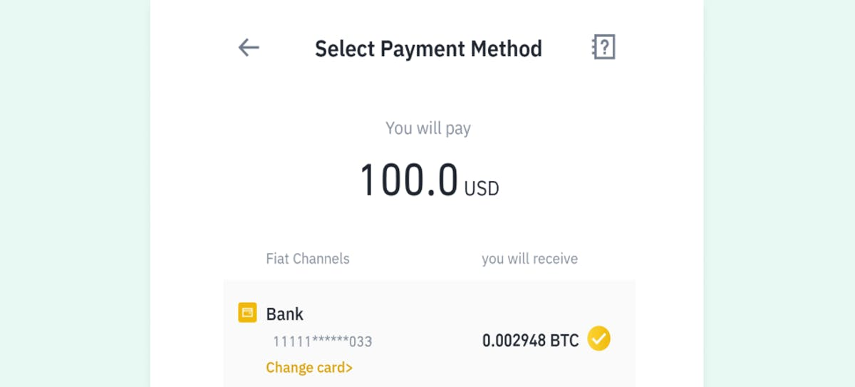 3rd step of buying crypto - choosing your preferred banking method
