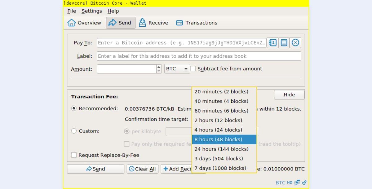 Bitcoin Core wallet interface