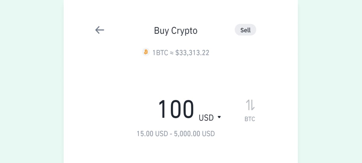 2nd step of buying crypto - entering the amount of fiat currency