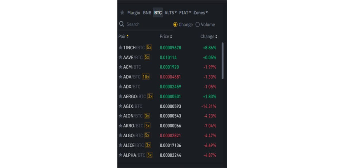 Cryptocurrency trading pairs