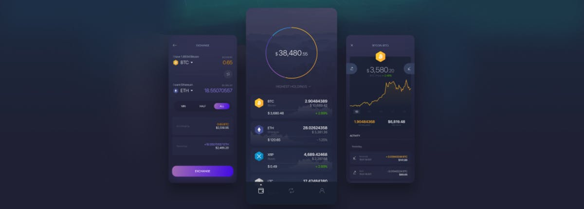 Example of a hot wallet on mobile