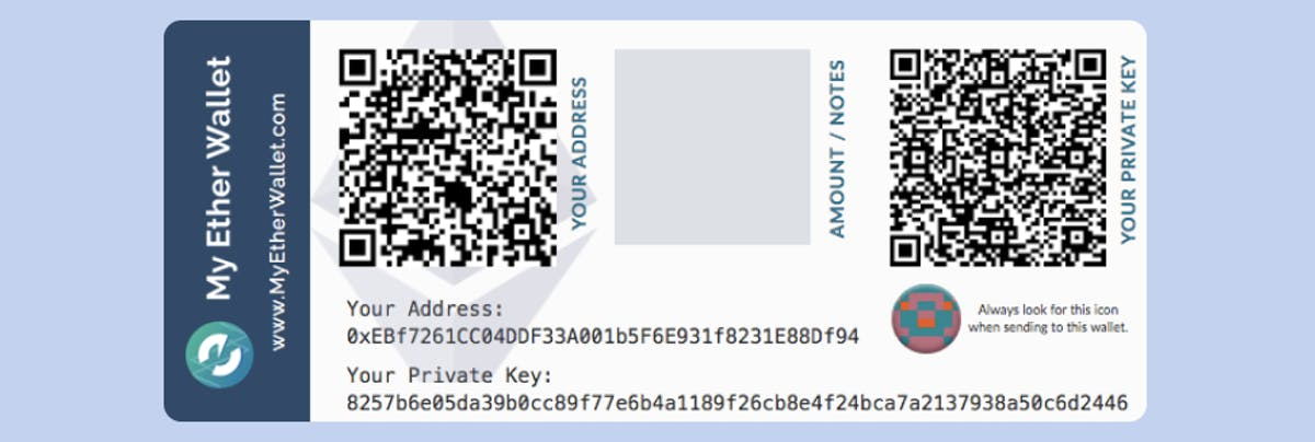 A paper crypto wallet