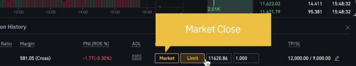 market close on Binance
