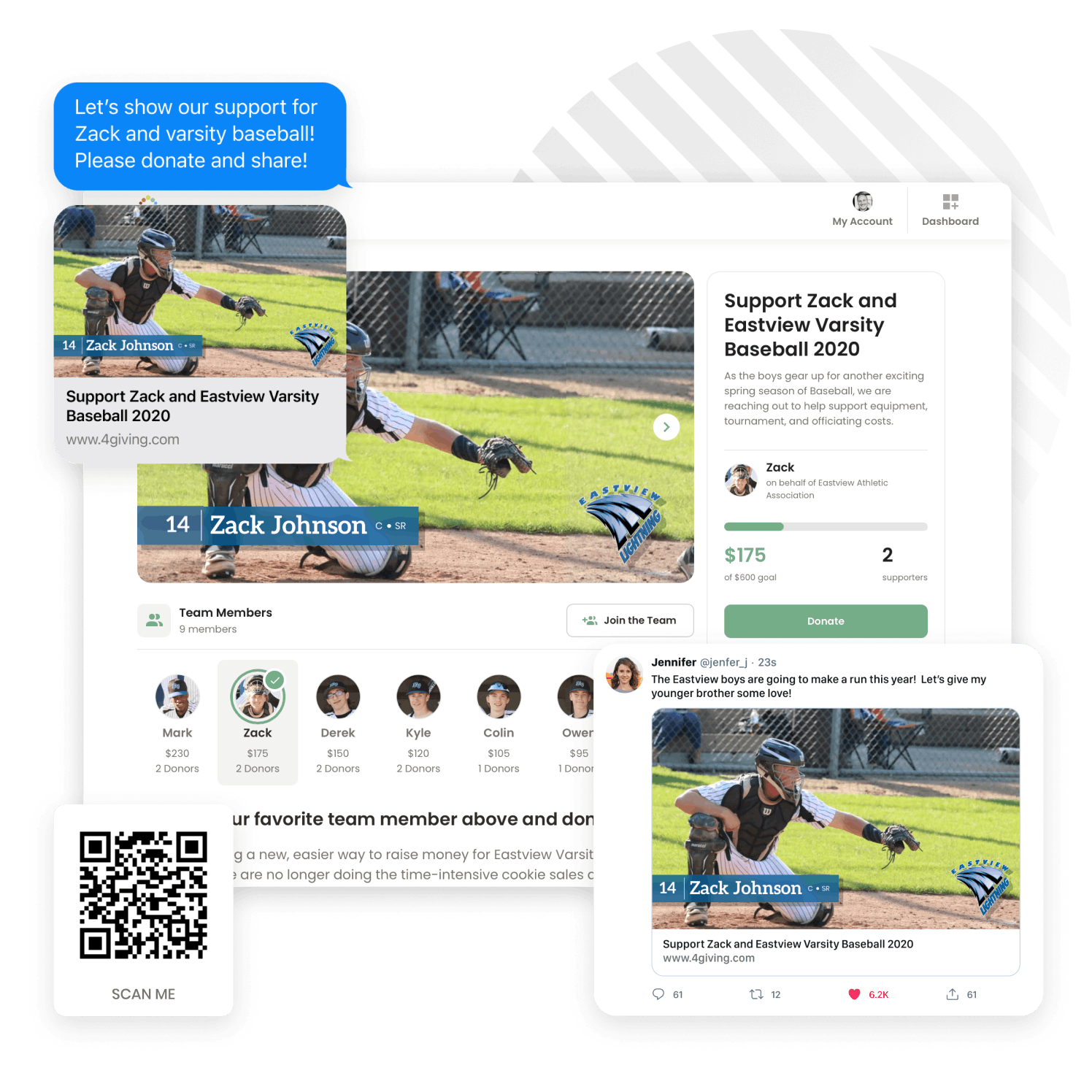 4giving fundraising sports montage with donation page, QR code, social media post and commenting