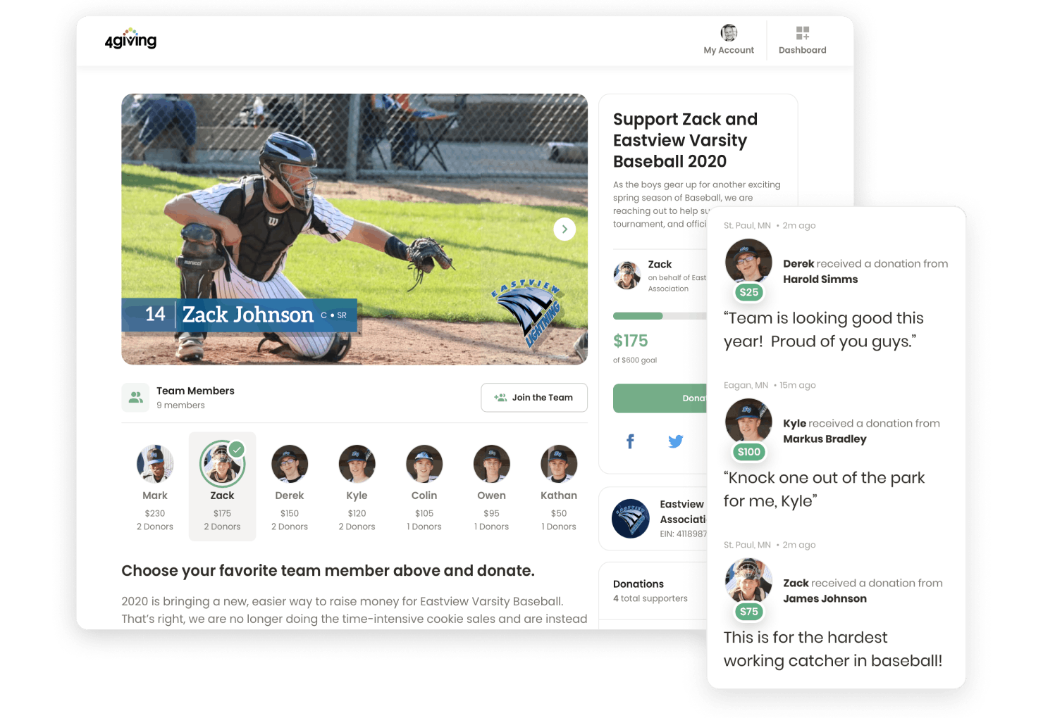 4giving fundraising sports donation page view overlaid with comments sidebar