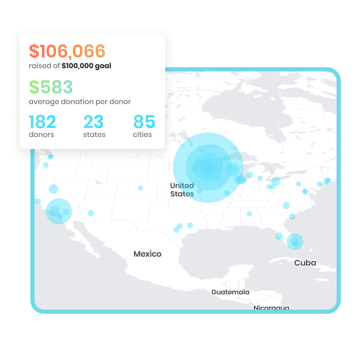 4giving fundraising giving heat map displaying geographic donor locations with stats and metrics