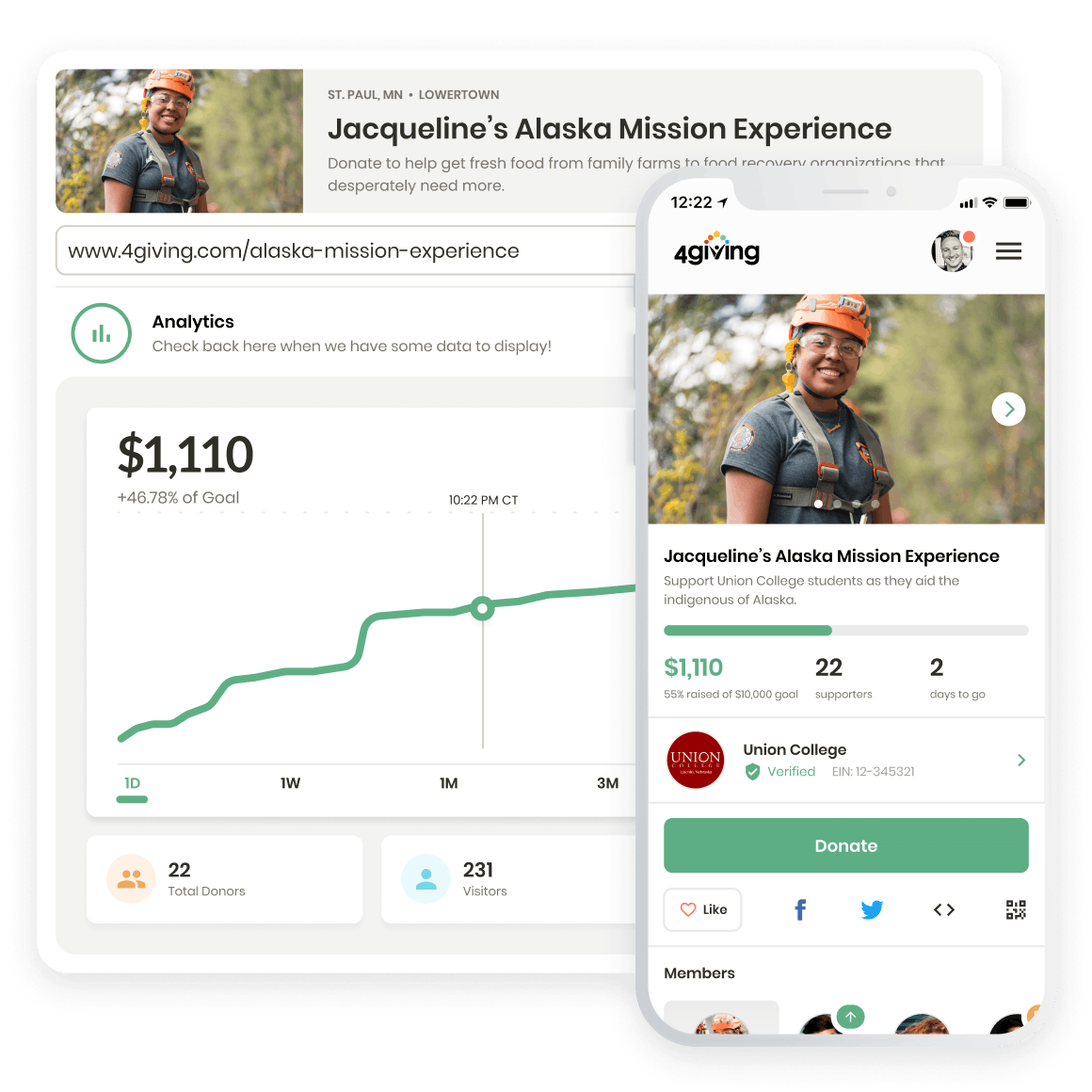 4giving web admin interface displaying donor stats overlaid with 4giving mobile donation page