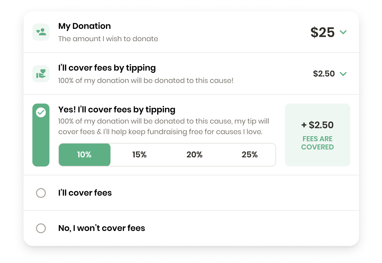 4giving donation checkout displaying the ability to cover credit card fees with a tip