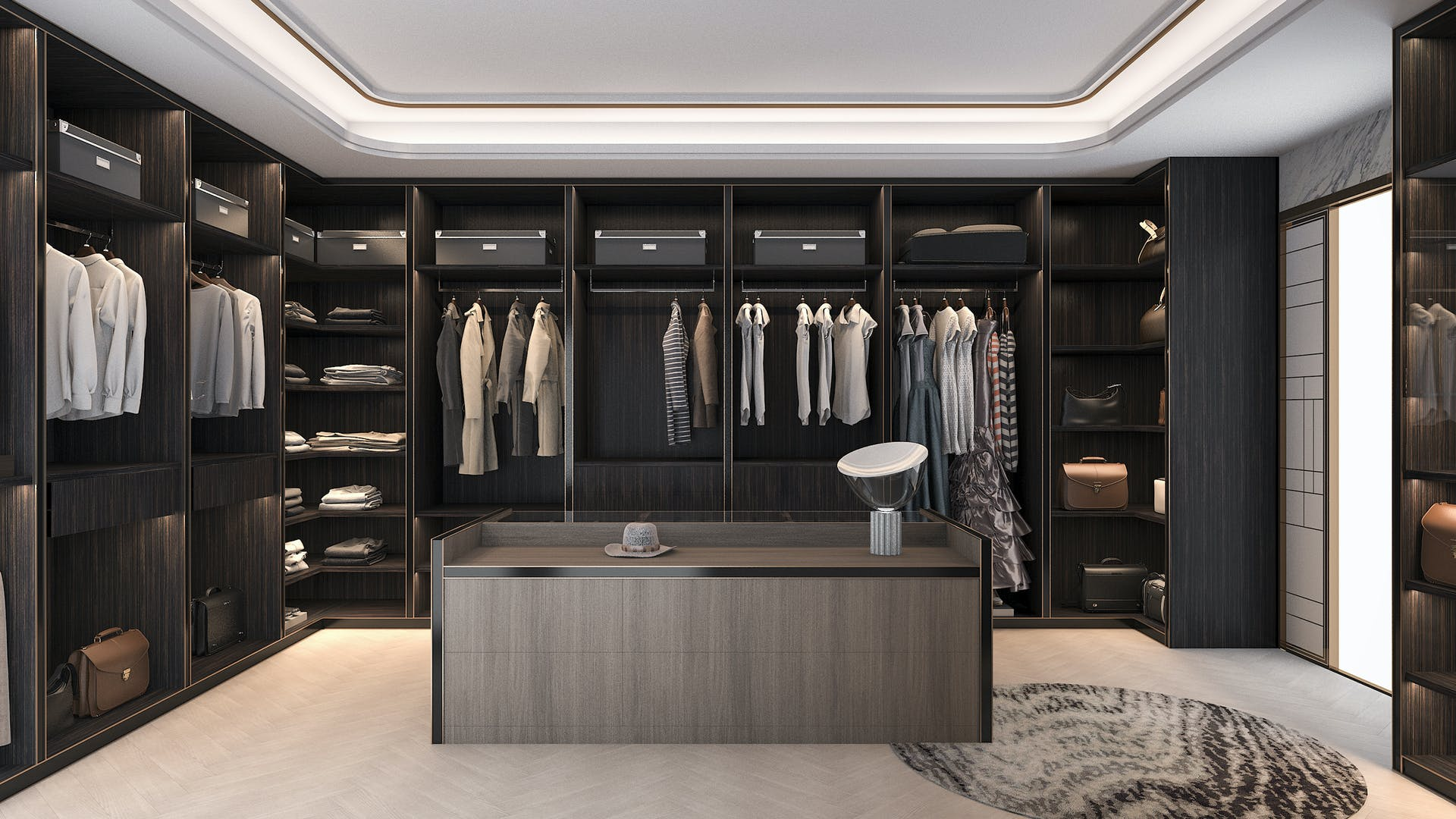 A very tidy and luxurious walk in wardrobe room