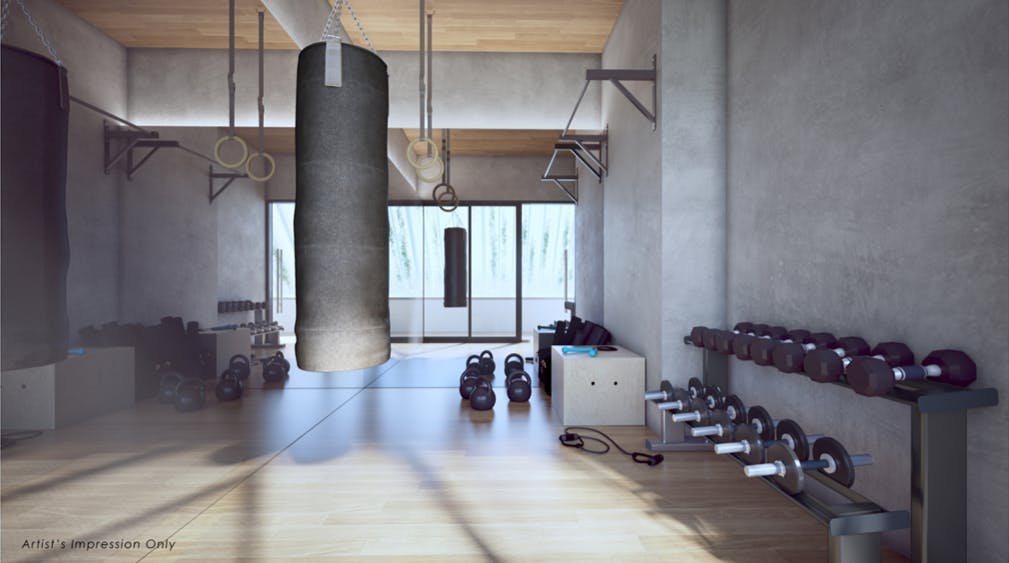 A fitness junkie's playground lies in TEDGE condo, where they can toy around with free weights and CrossFit equipment.
