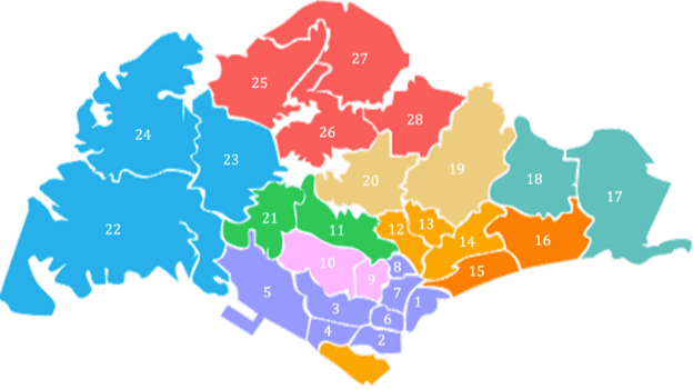 Map of Singapore's Districts