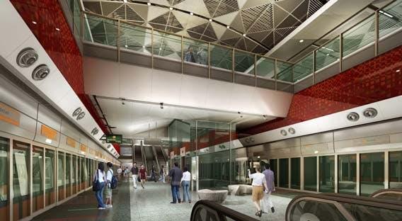 An artist impression of Orchard Boulevard MRT Station