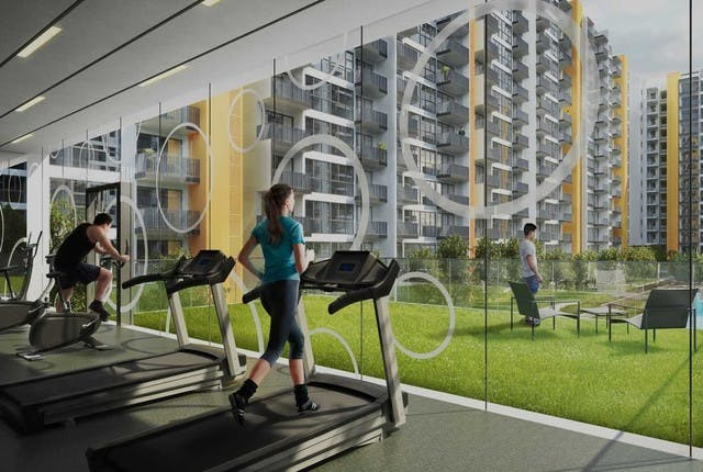 Floor to ceiling glass windows in the indoor gym