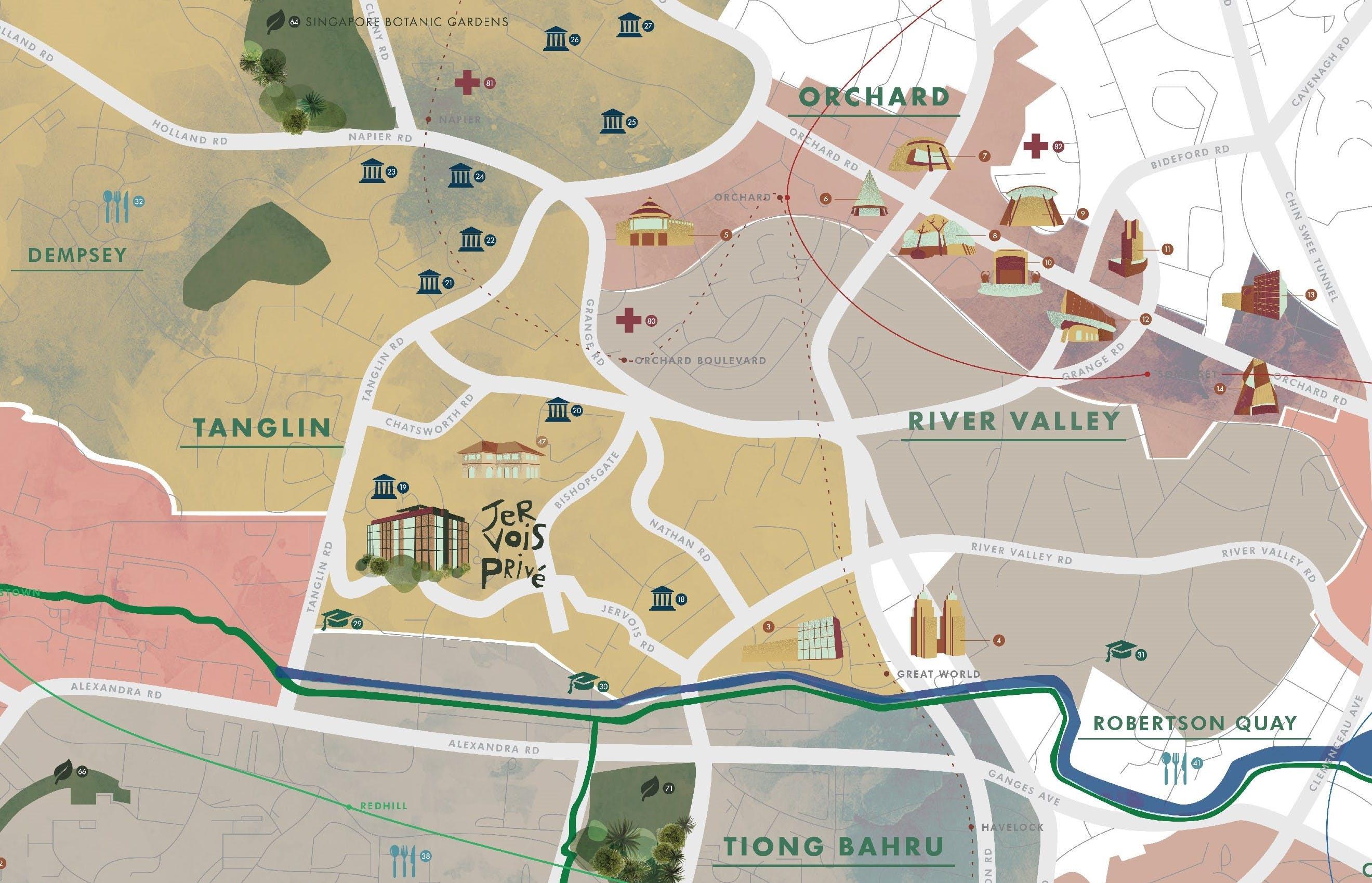 Jervois Prive Location Map