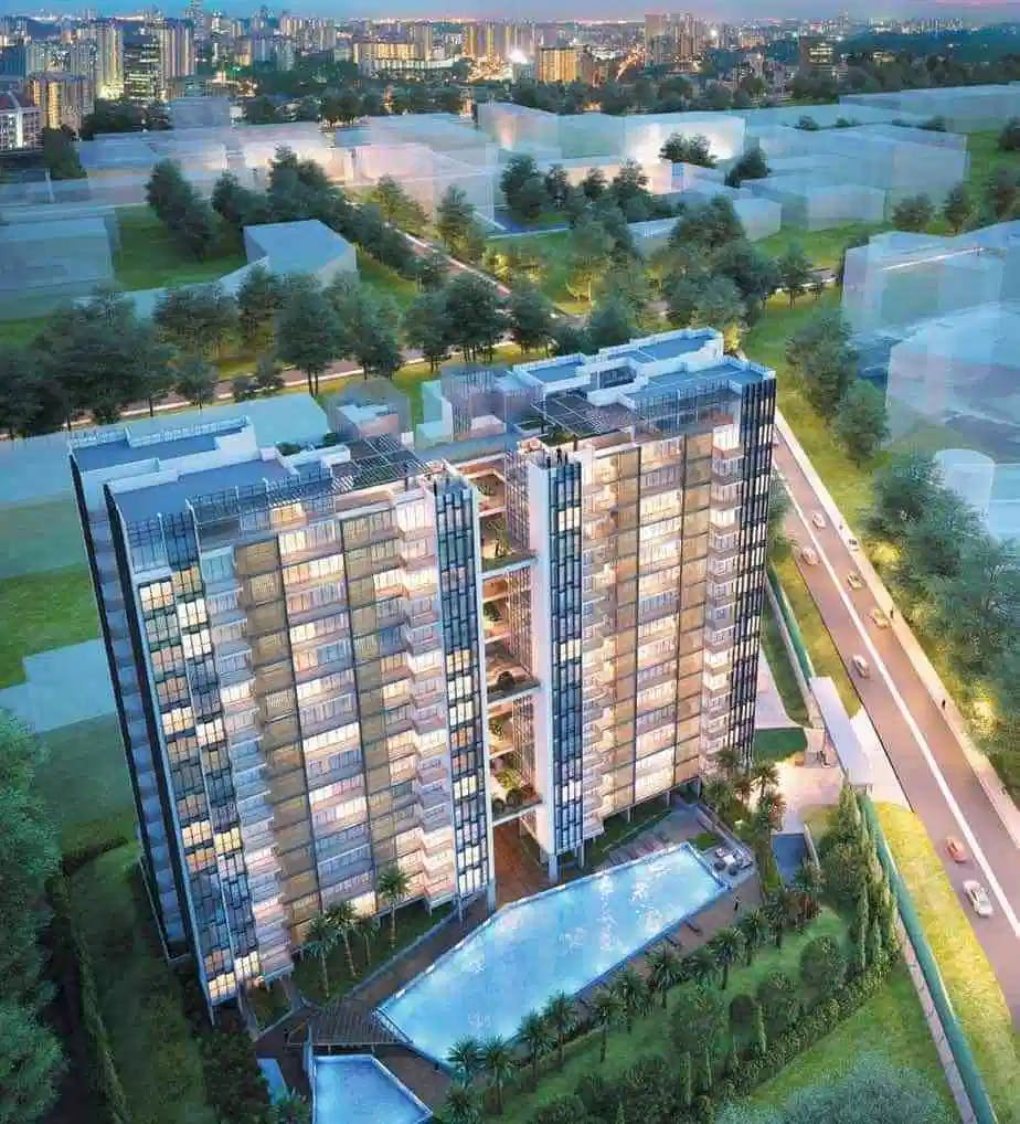A top-view of TRE Residences in Geylang.