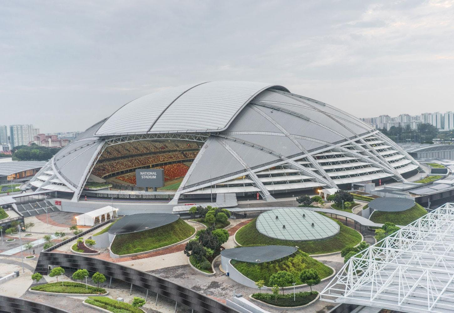 Singapore's National Stadium - a 55,000 seat stadium with a multi-purpose retractable roof and is used for sport events and concerts