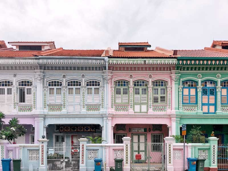 Traditional shophouses and Peranakan terrace houses along East Coast Road