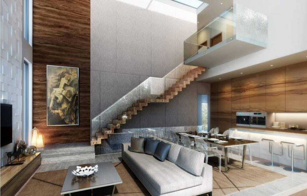 A two-floor home at High Park Residences with custom fittings and matching furniture