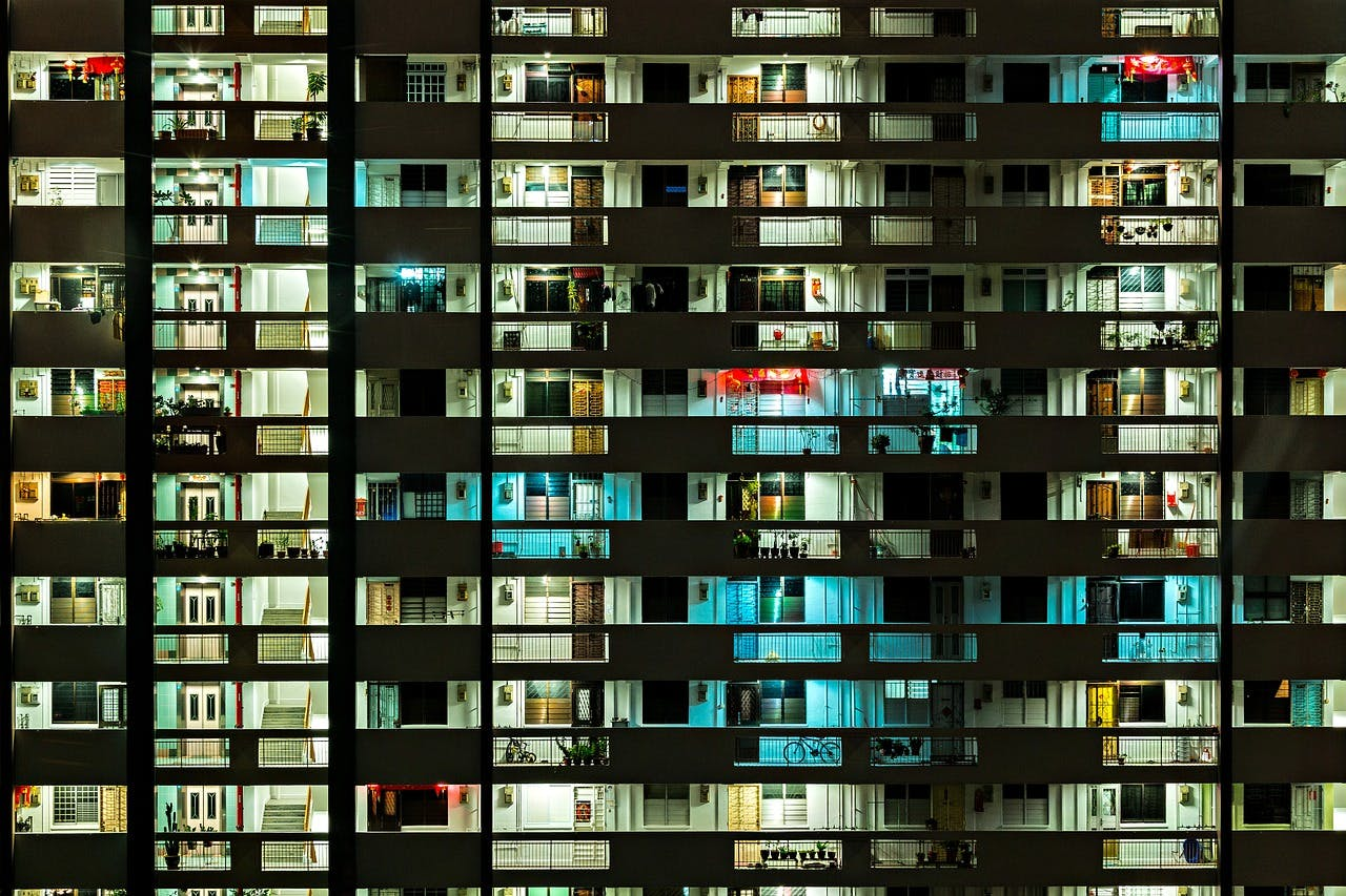 HDB flats at night