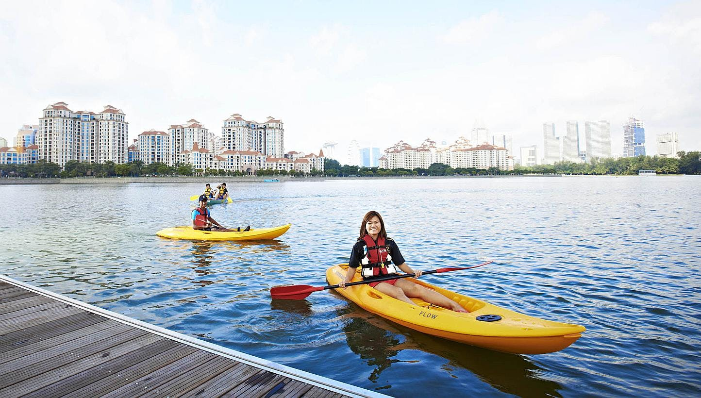 People kayak in the Kallang Basin.