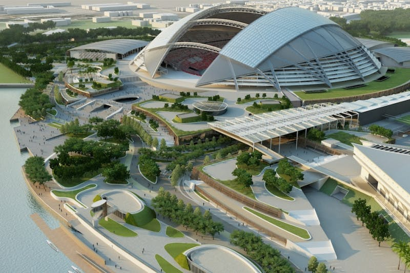 The beautiful Singapore Sports Hub, with the Kallang Wave Mall among many other destinations.