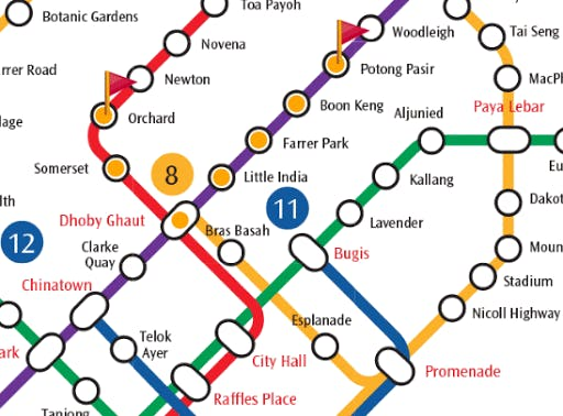 A local train connectivity map charting the route from Potong Pasir to Orcahrd MRT Station
