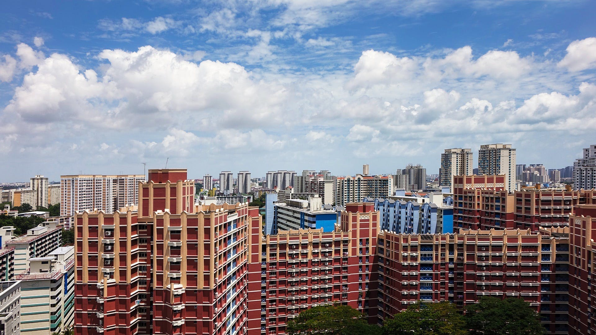 Bird's eye view of HDB flats