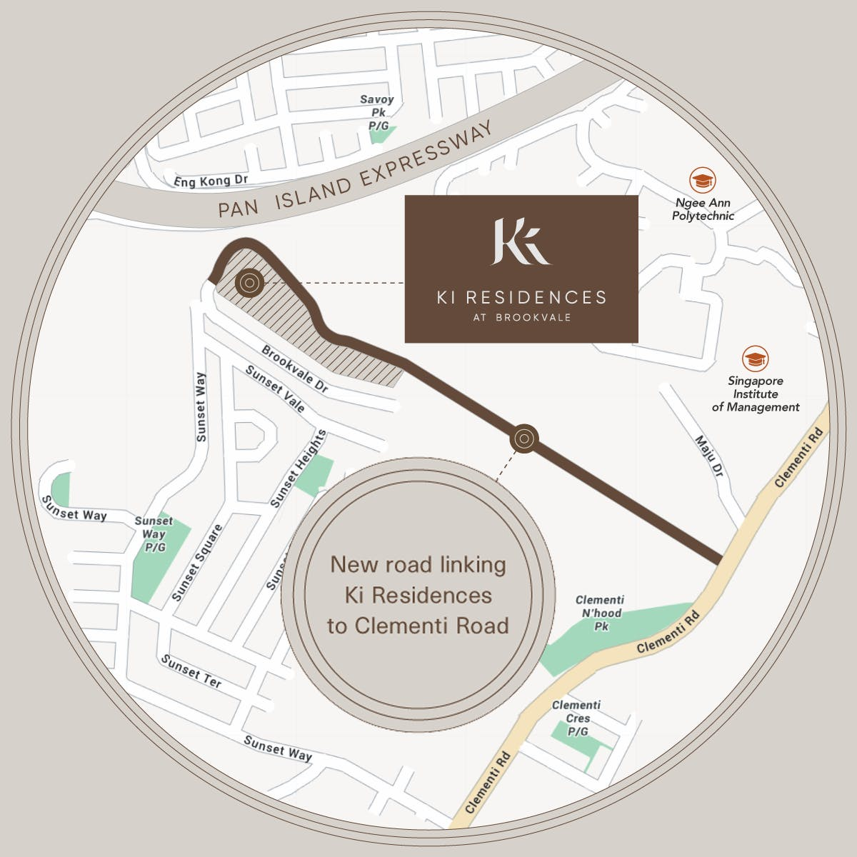 An illustration of Ki Residences at Brookevale and the new road that will link Ki Residences to Clementi Road
