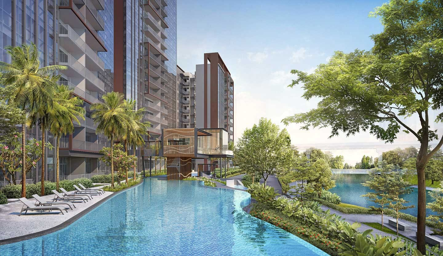 An inviting 75m swimming pool filled with relaxing water features await One-North Eden residents.