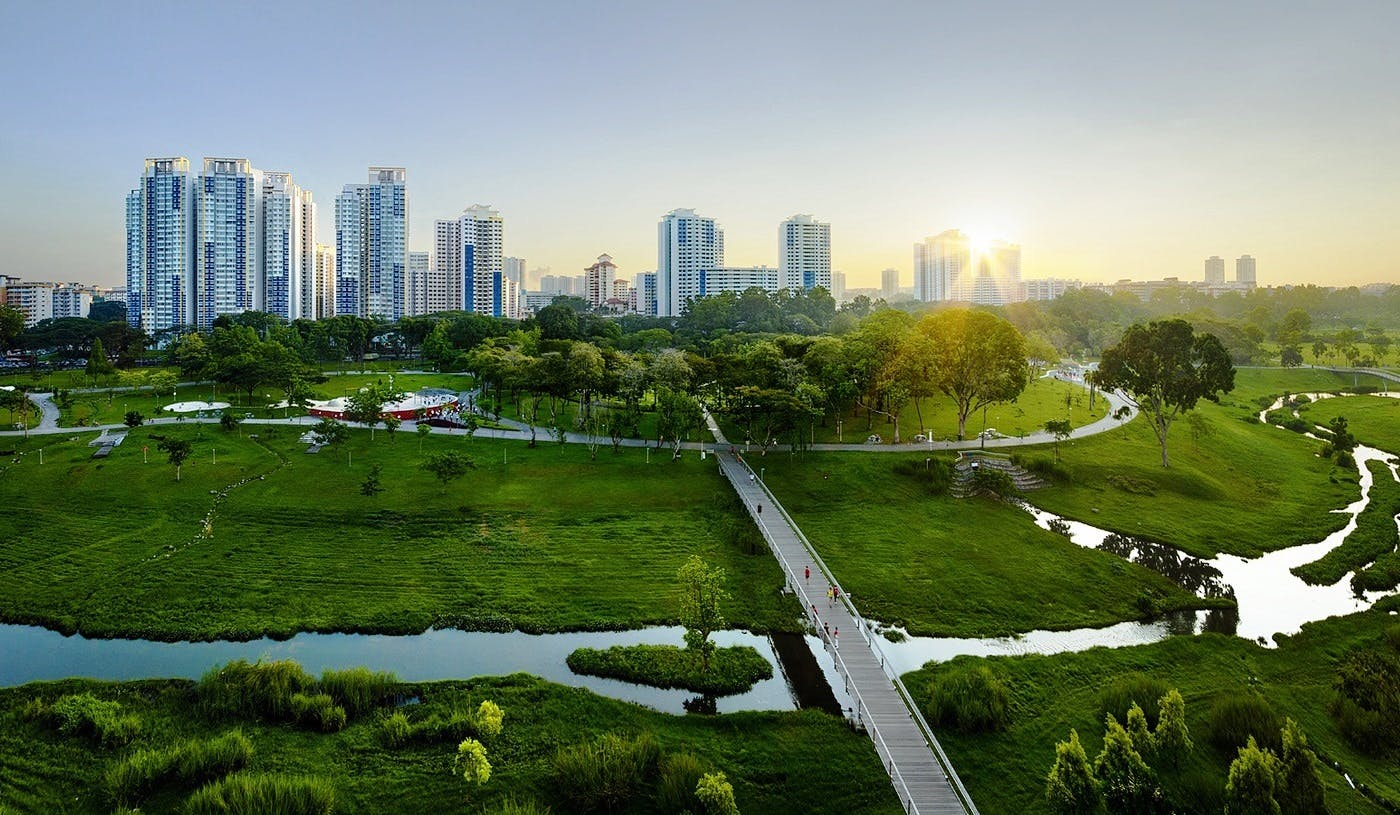 Bird's eye view of Bishan and Bishan Park