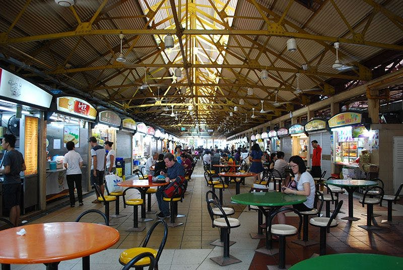 The bustle of Maxwell Food Centre.