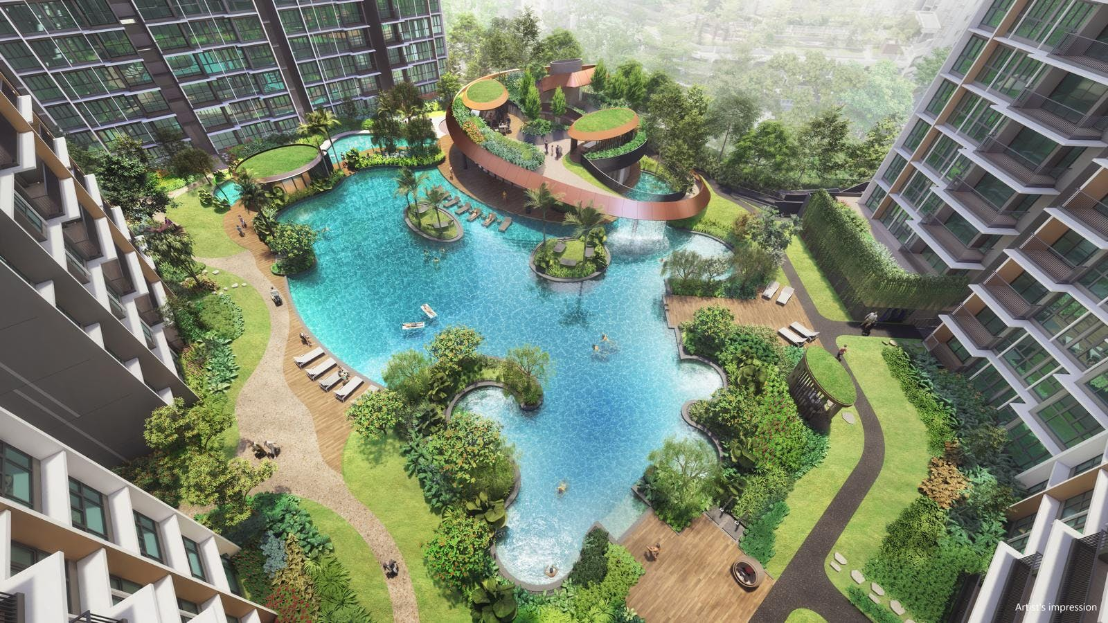 "Parc Central Residences Executive Condominium promises ""central park living in the east"" with its modern luxurious design against lush greenery"