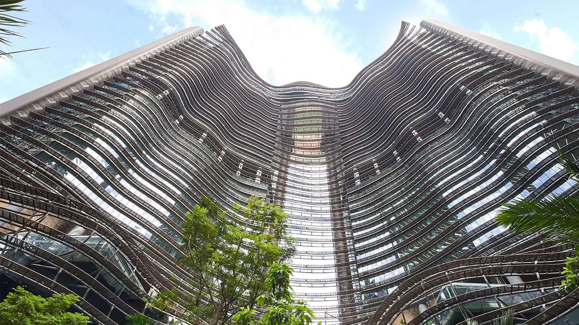 Marina One Residences towering from below