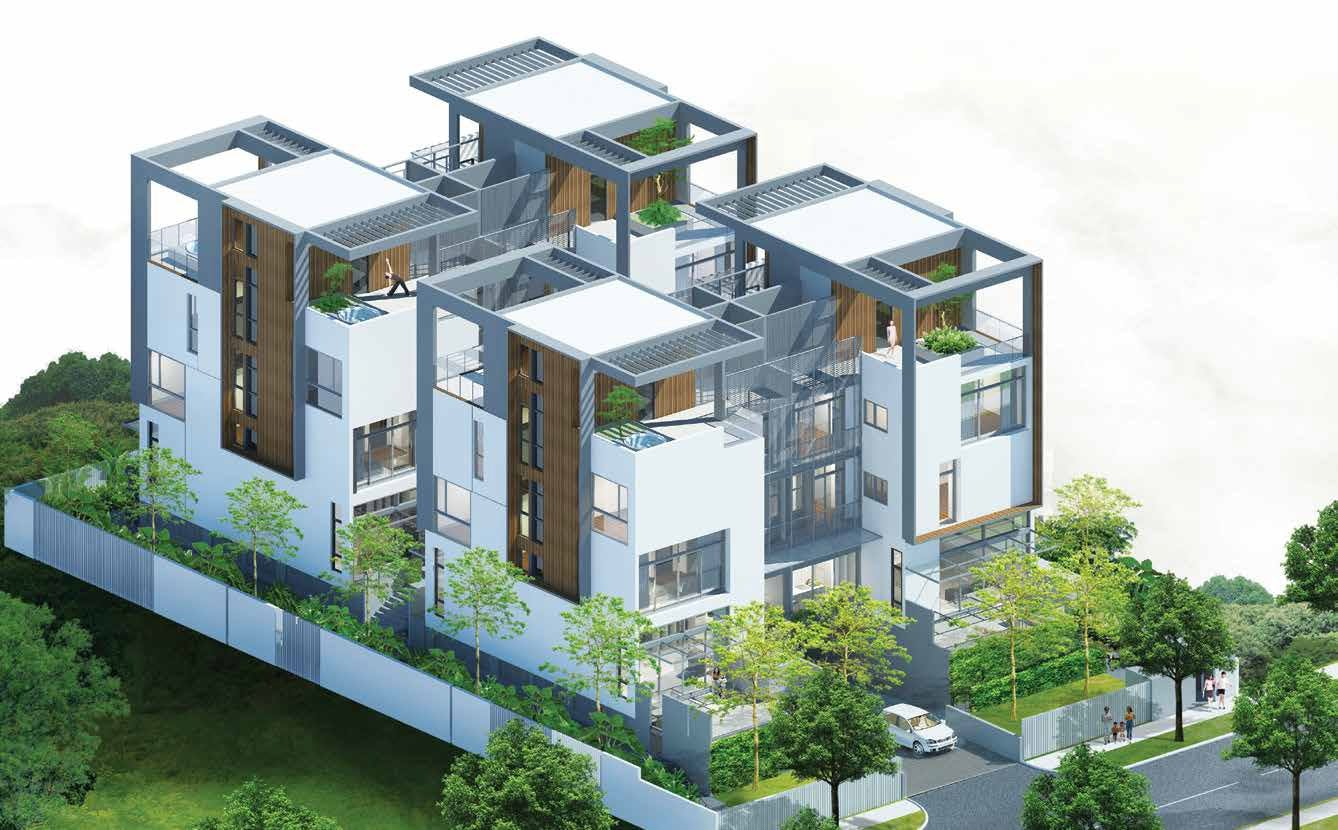 A top-down image provides an internal look at the expansive homes of Place-8 development.