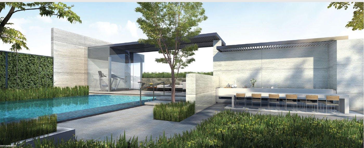 Sixteen 35 Residences condo facilities, gym, outdoor dining area, pool