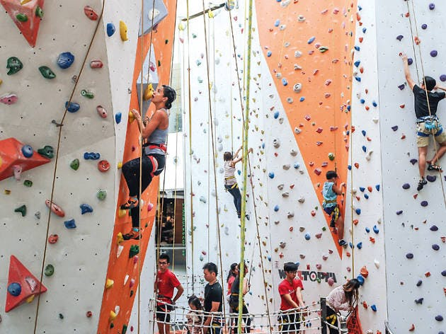 Indoor rock climbing and bouldering in Kallang Wave Mall by Climb Central.