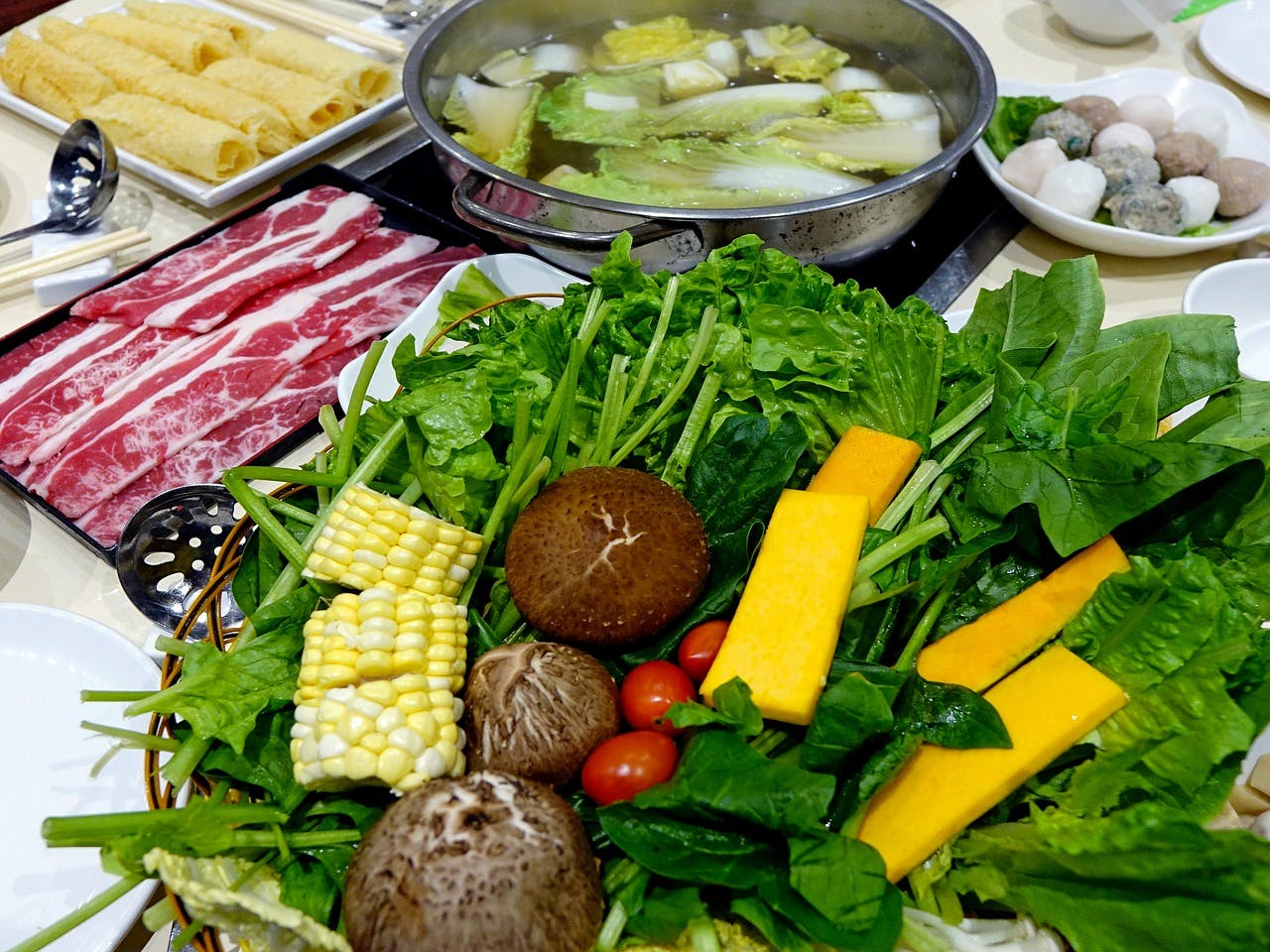 Assorted ingredients for a hot pot meal