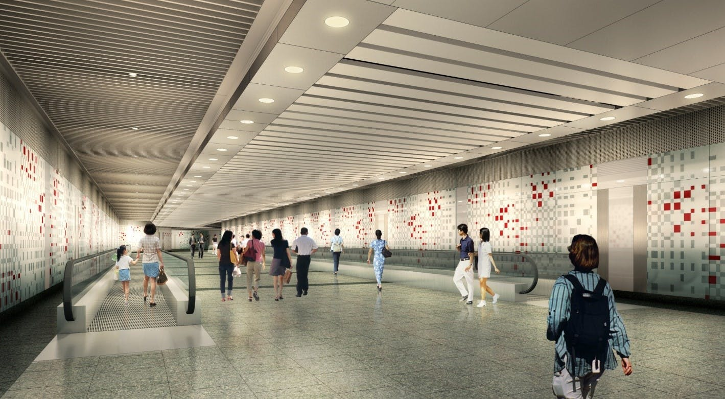 An artists' impression of the Thomson-East Coast extension at Orchard MRT Station